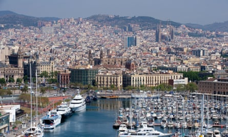 The city of Barcelona, seen from the port.