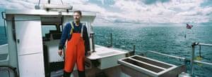 Brian Cunningham, a fisherman, on his boat, The Bluefin, in the Irish Sea, near Kilkeel, Northern Ireland.