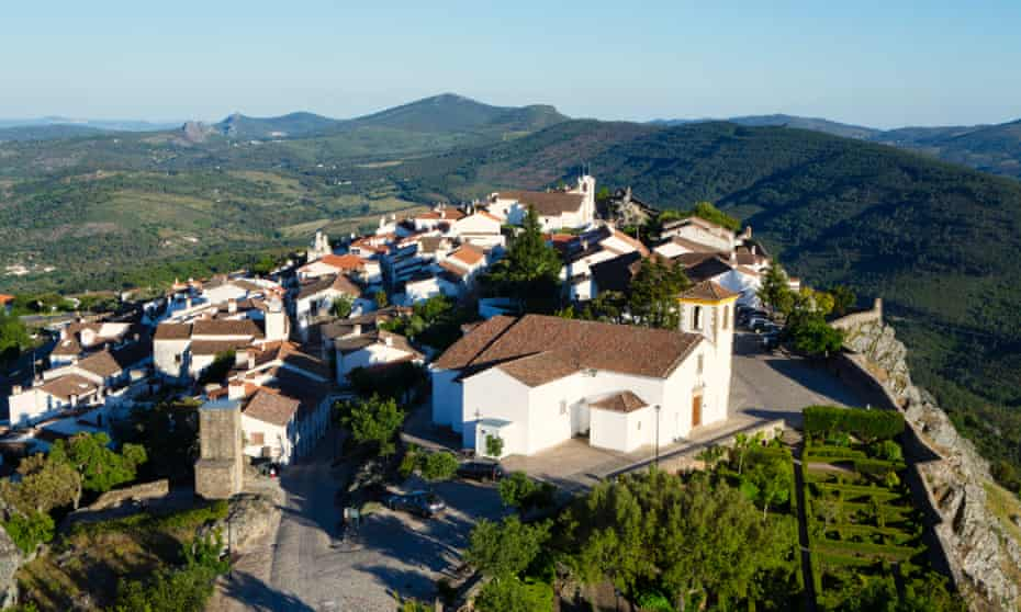 Dramatic mountain views from the medieval fortress town of Marvão, in the Alentejo