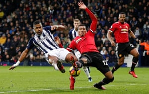 West Bromwich Albion's Salomón Rondón throws himself into a challenge against Manchester United's Chris Smalling as United win 2-1 at the the Hawthorns. West Brom are now winless in 16 consecutive league games – the longest run in their league history (D8 L8).