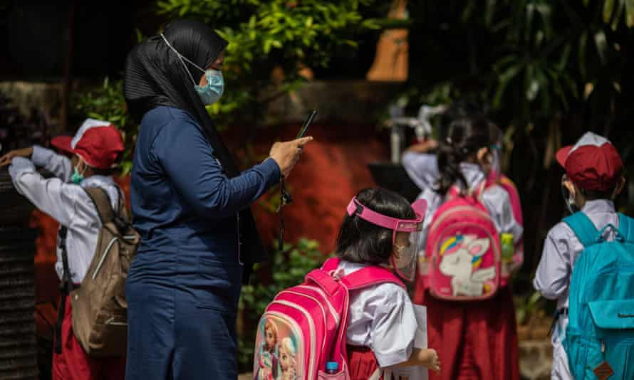 Face-to-face schooling has started in Jakarta, Indonesia, with strict health protocols.
