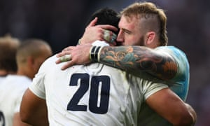 Joe Marler congratulates Billy Vunipola on scoring his try, minutes after coming on as a substitute.