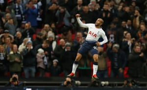 Tottenham's Lucas Moura celebrates scoring their third goal.