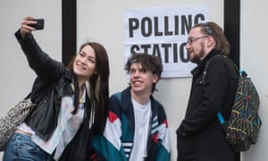 Young voters in Barnet, north London, on election day 2015.