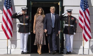 Donald and Melania Trump at the White House for a moment of silence for the victims of Sunday's mass shootings.