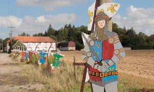 A line of cardboard English archer figures on the 1415 Battlefield at Agincourt in France