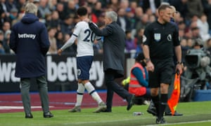 Tottenham Hotspur's new manager Jose Mourinho congratulates Spurs' Dele Alli on his performance after he is substituted.