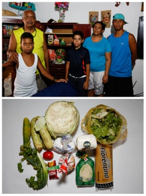 """Jhonny Mendez (2nd L) and his family Yoelver Barreto, Yorver Barreto, Leida Bolivar and Yoalvier Barreto (top) and the food they have at home in Caracas, Venezuela April 14, 2016. """"I have to leave the house at 5 am, facing the risk of being killed, to make lines all day and only buy two or three products,"""" Mendez said."""