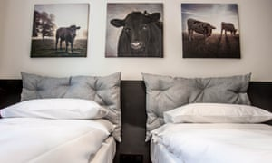 Twin bedded room at MOOo apartments in central Prague.