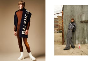 Left: Scarf, £1,495, turtleneck, £295, leggings, £245, and boots, £635, by Balenciaga Right: Jumper, £620, trousers, £810, belt, from a selection, mittens, £250, and shoes, £670, by Dior Homme.