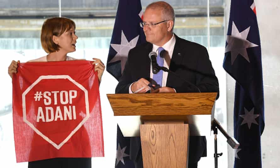 Protester interrupts Scott Morrison during a speech he was making at the Valley Chamber of Commerce business luncheon in Brisbane Australia, 08 April 2019.