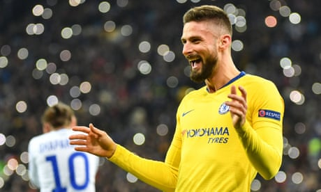 Olivier Giroud's perfect hat-trick fires Chelsea into Europa League last eight
