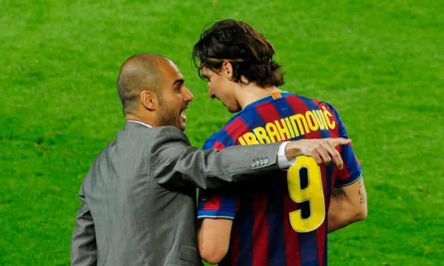 Pep Guardiola gives Zlatan Ibrahimovic instructions during the semi-final between Barcelona and Inter in April 2010.