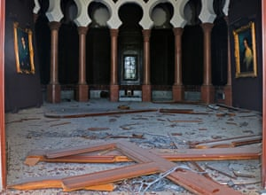 The museum's damaged lobby