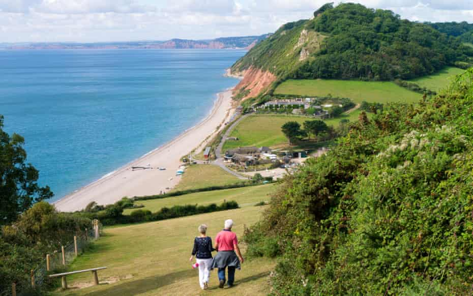 The South West Coast Path approaching Branscombe, Devon England UK.