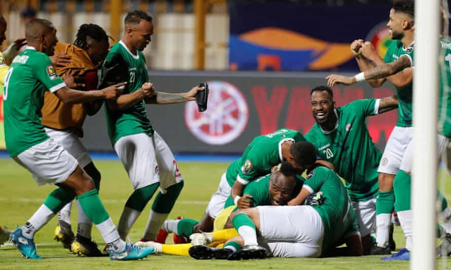 Madagascar players celebrate after winning the penalty shootout in Alexandria.