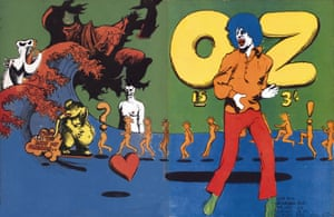 Martin Sharp's illustration of Mick Jagger for the front and back cover of Oz magazine 15 in October 1968.