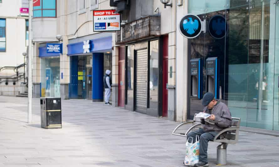 A deserted shopping street in Cardiff