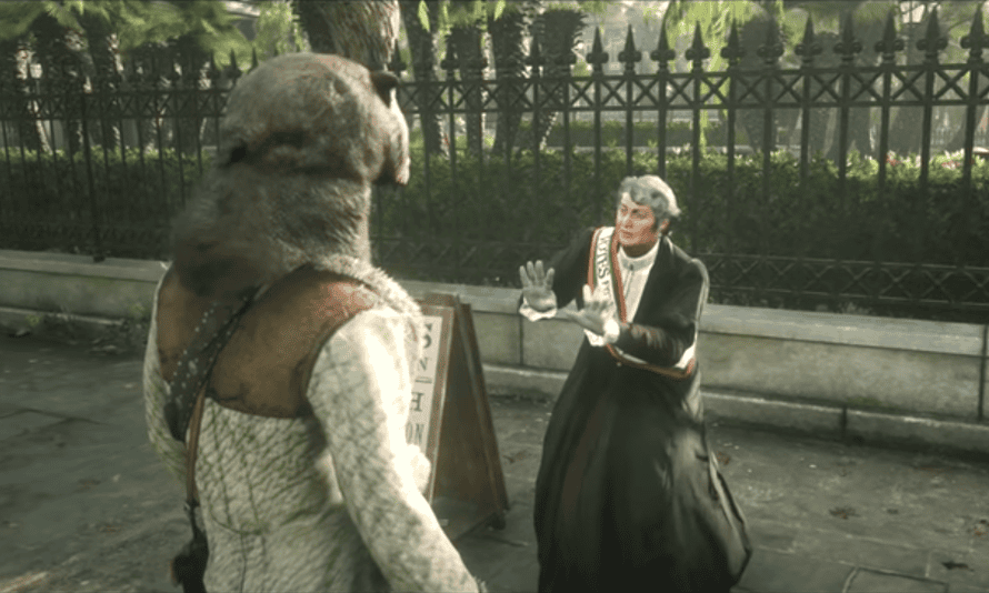 A screenshot from one of the videos published by Shirrako showing his character attacking the suffragette
