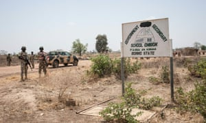 A sign for the secondary school in Chibok