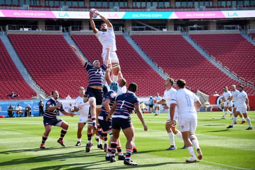 Dave Dennis of LA wins a line-out against New England at the Los Angeles Coliseum.