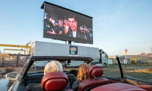 Grease is the word … a drive-in showing at the Harland and Wolff Belfast shipyard this month.
