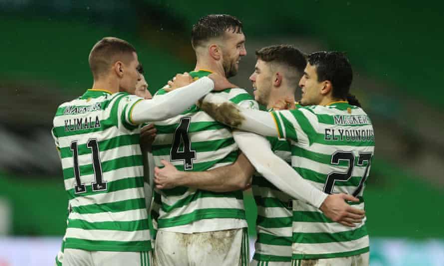 Shane Duffy (centre) celebrates his goal for Celtic.