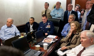A 1 May 2011 image released by the White House and digitally altered to obscure the paper in front of Hillary Clinton.