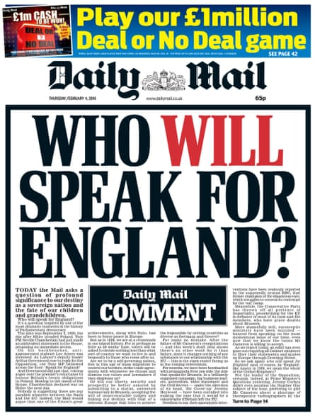 The Daily Mail asks 'Who will speak for England?'