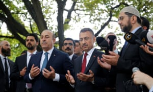 Vice president of Turkey, Fuat Oktay (C-R) and minister of foreign affairs of Turkey, Mevlut Cavusoglu (C-L) pray during their visit to Al Noor Mosque targeted in Friday's twin terror attacks in Christchurch.