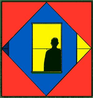 anxy magazine illustration - man in window