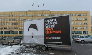 A billboard in Wrocław, Poland, reading 'Death camps were Nazi German'
