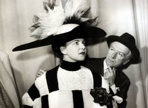 Cecil Beaton and a model wearing one of his designs for My Fair Lady, April 1958.