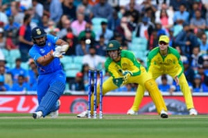 Rohit hits to the boundary for four.