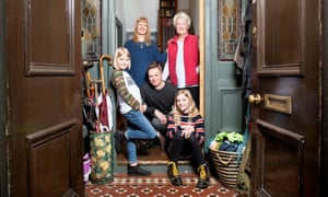 Nick Bright and Kathryn Whitehead at home in Bristol with their daughters and Rita Whitehead.