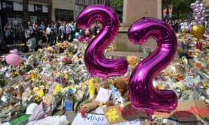 Balloons honour the 22 victims of the Manchester Arena bombing in central Manchester on 25 May 2017