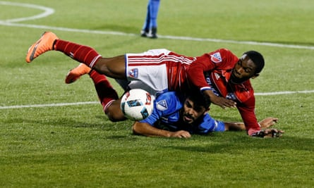Dallas forward Fabian Castillo goes up against Montreal Impact defender Victor Cabrera last month. Dallas won the game 2-0.