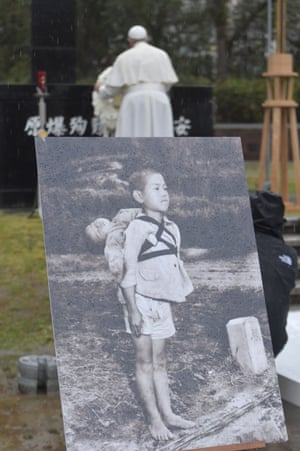 A photo taken by US marine Joe O'Donnell, showing a boy carrying his dead brother on his back after the Nagasaki bombing.