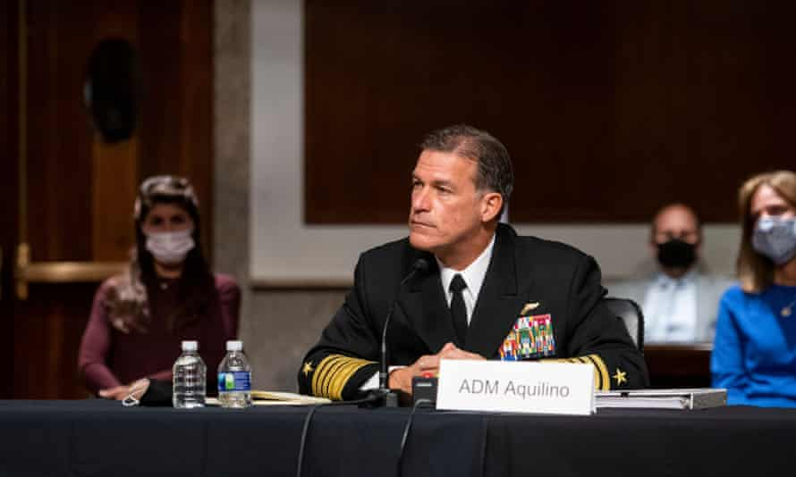 Adm John Aquilino at a Senate armed services committee hearing