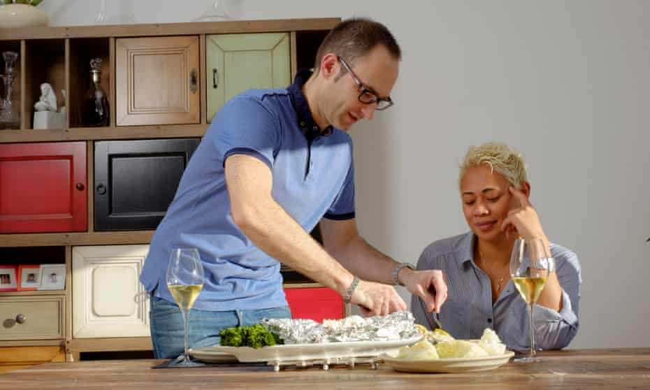 David Galetti serves Asian-style cod and steamed vegetables for his wife, Monica Galetti.