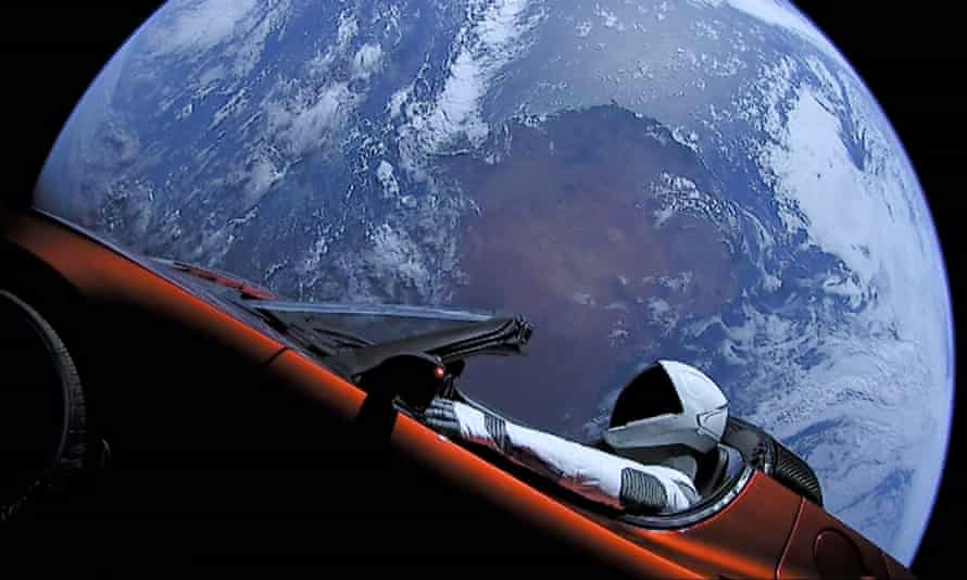 a mannequin in one of Elon Musk's cars orbiting the Earth.