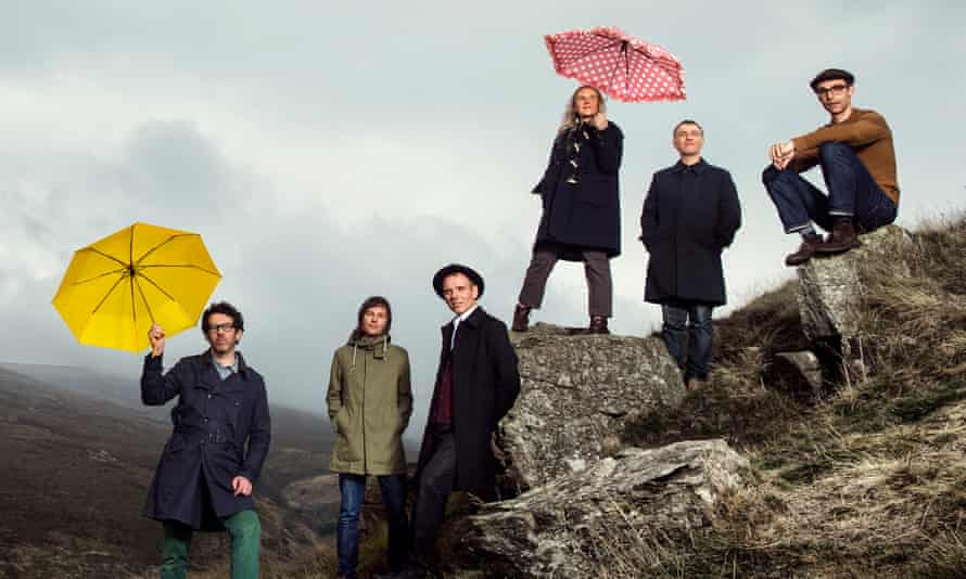 What goes on tour... Belle and Sebastian (Colburn pictured second right).