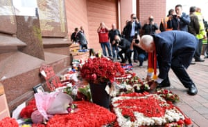 Jeremy Corbyn visits a memorial for the 96 Liverpool fans who died in the Hillsborough disaster in 1989
