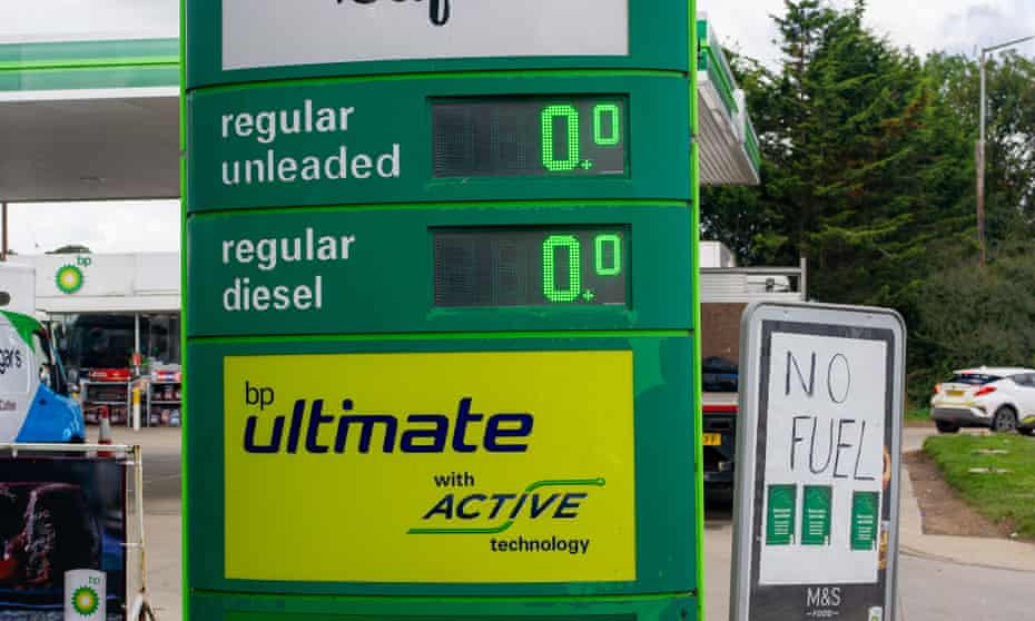The prices sign turned to zero at a BP petrol station on the A40 when it ran out of fuel