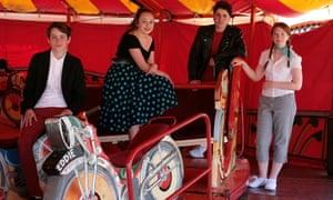 Pupils at fairground ride