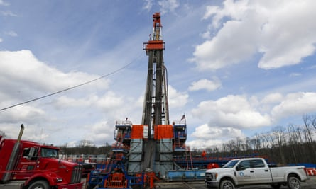 A shale gas well drilling site in St Mary's, Pennsylvania, where fracking has become an issue in the US presidential election.