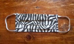 Zebra-patterned cloth face mask