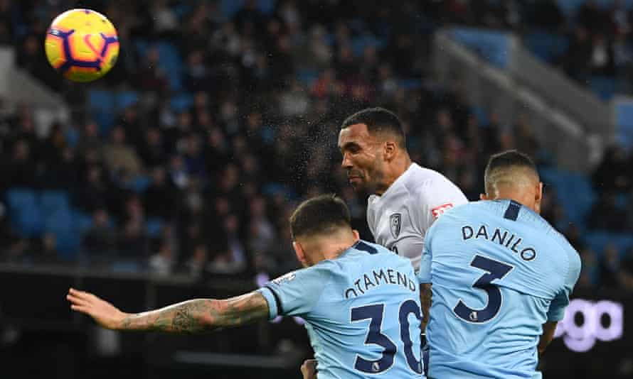 Callum Wilson climbs above two Manchester City defenders to head Bournemouth level just before half-time.