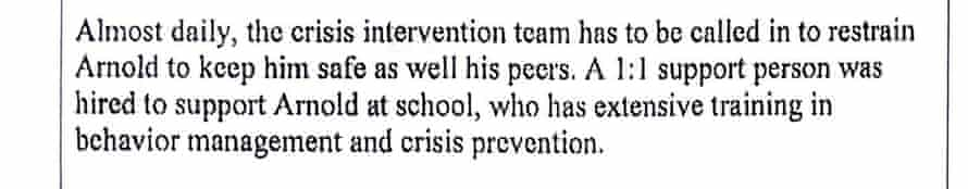"""An excerpt from Arnold Bateman-Twocrow's Individualized Education Plan shows he was restrained """"almost daily"""" despite APS officials reporting zero instances of restraint."""