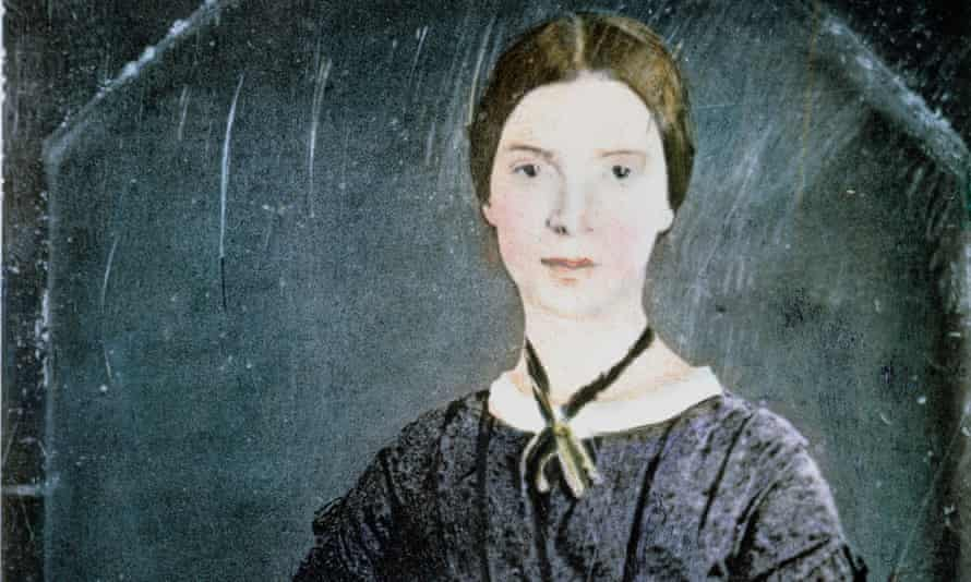 painted daguerreotype of Emily Dickinson, 1848.